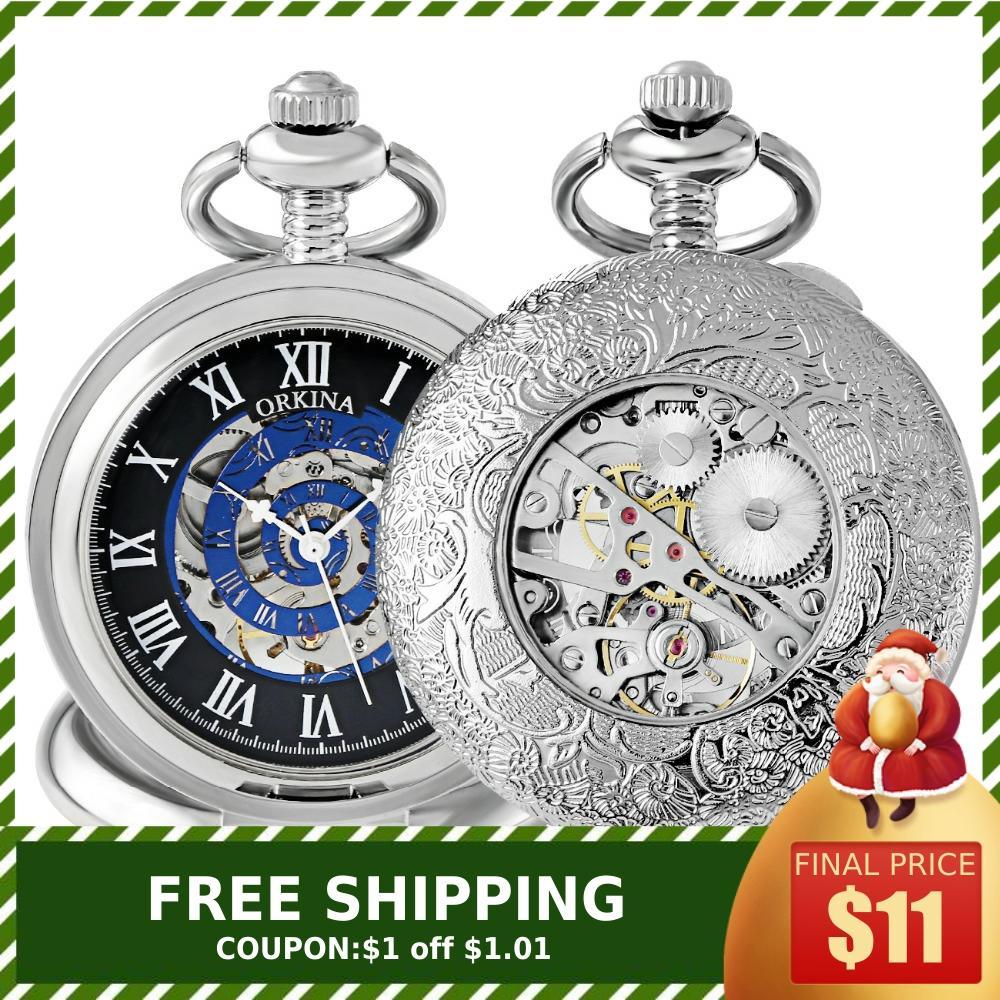Стоячие серебряные Механические карманные часы с скелетом карманные часы ожерелье брелок карманные часы цепь для мужчин подарок