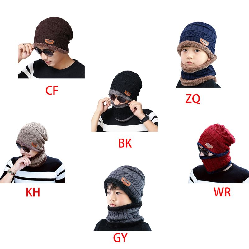 Adult Kids Winter Chunky Cable Knit Faux Fleece Lined Warm Beanie Hat Scarf Set NEW
