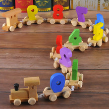 Wooden Puzzle Dragging Stitching Toy Train Children Enlightenment Cognitive Digital Parent-child Interactive Communication Toy(China)