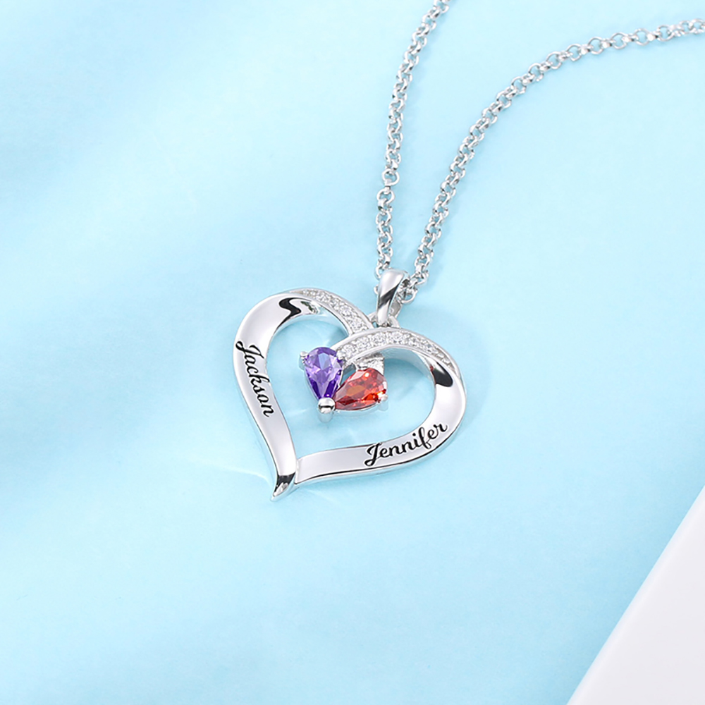 Forever Together Engraved Birthstone Custom Heart Necklace