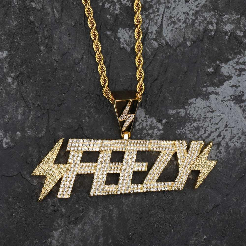 Solid Back FEEZY Letters Pendant name necklace All Iced Out Cubic Zircon Chain Necklaces Gold Color Men's Hip Hop Bling Jewelry