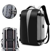 Anti hırsızlık sırt çantası 17 inç Laptop sırt çantası kadın erkek çanta USB şarj aleti sırt çantası seyahat su geçirmez anti hırsızlık çanta Mochila siyah