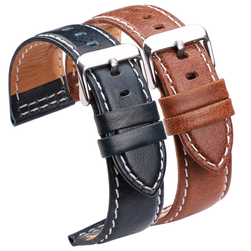 Genuine Leather Watch Bands Belt 22mm 24mm Women Men Black Brown Blue Orange Watchbands Strap With Stainless Steel Pin Buckle