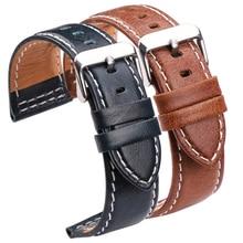 Genuine Leather Watch Bands Belt 22mm 24mm Women Men Black Brown Blue Orange Watchbands Strap With Stainless Steel Pin Buckle стоимость