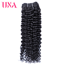 UNA Curly Brazilian Hair Weft 1 Bundle Pack Remy Hair Weaves Color #1B 8 Inches to 28 Inches цена