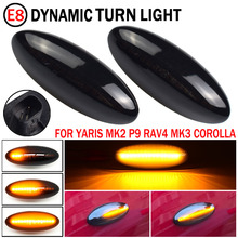2 sztuk dynamiczne boczne światła obrysowe LED włącz wskaźnik sygnału Repeater światła nadające się do Toyota Yaris COROLLA Auris Mk1 E15 RAV4 Mk3
