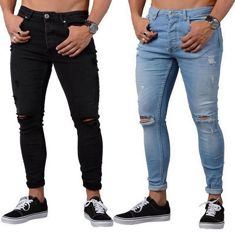 Skinny Blue Jeans Men Autumn Vintage Denim Pencil Pants Casual Stretch Trousers 2019 Sexy Hole Ripped Male Zipper Jeans