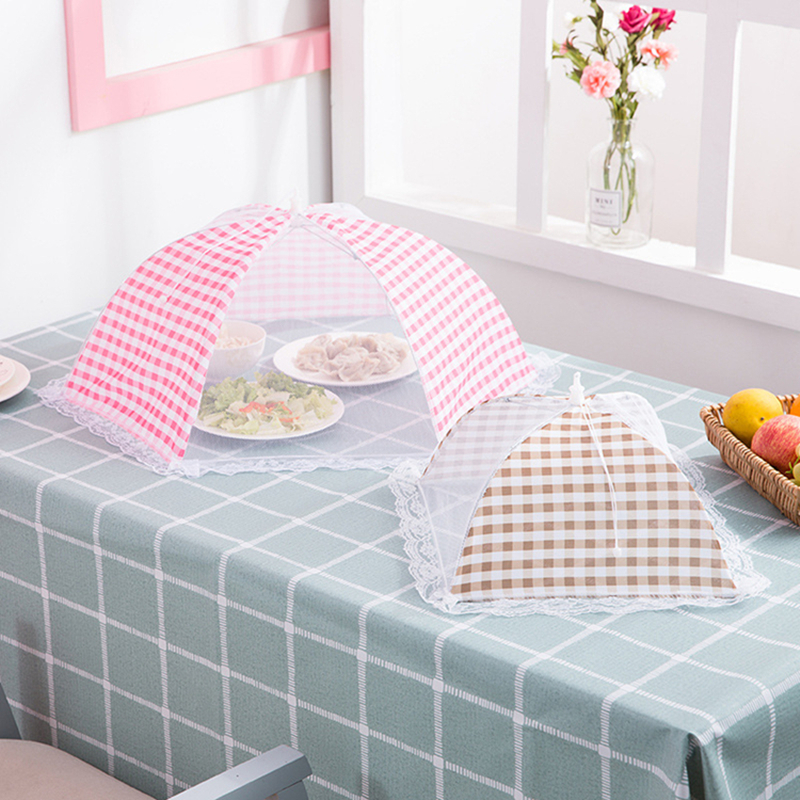 1Pc Kitchen Accessories Folded Mesh Food Cover Anti Mosquito Umbrella Hygiene Grid Style Food Dish Cover BBQ Picnic Kitchenware in Food Covers from Home Garden