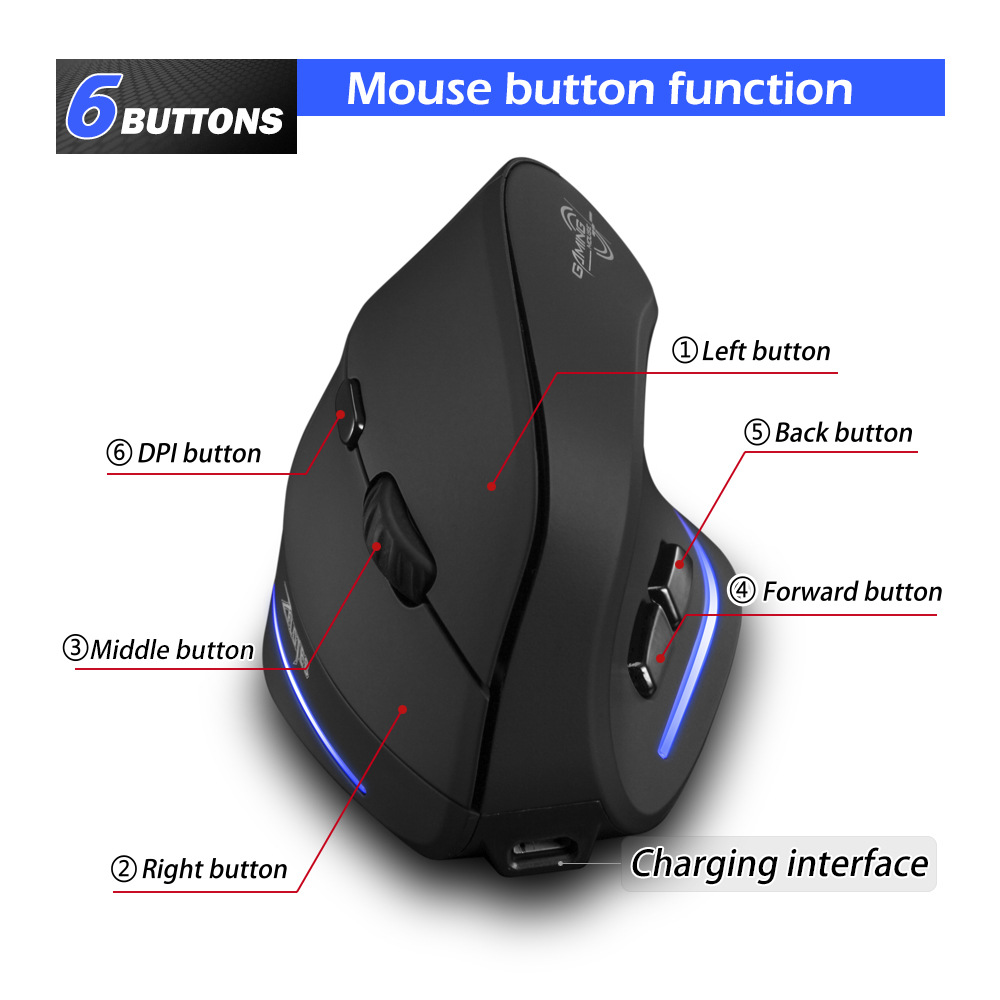 Image 4 - Wireless Mouse Vertical Mouse Ergonomic Optical 2400 DPI 6 Buttons ergonomic Mause for Windows MAC OS for computer laptop-in Mice from Computer & Office