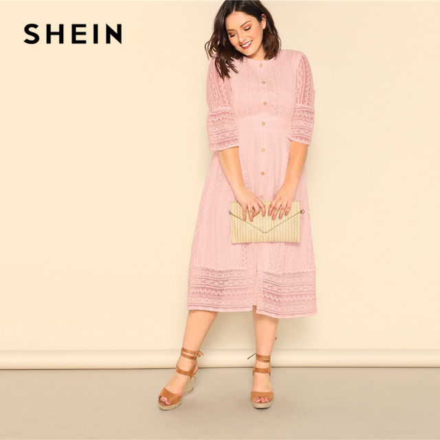 SHEIN Plus Size Lady Romantic Button Front Lace Overlay Maxi Dress Spring Elegant High Waist Half Sleeve A Line Long Dress 4