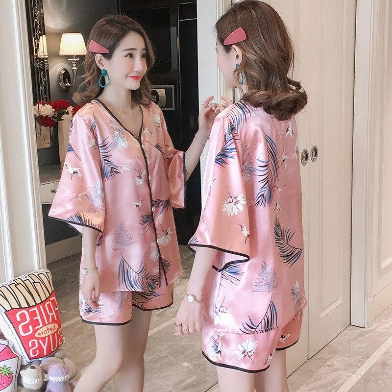 2019 Pajamas Women's Summer V-neck Viscose Thin-Bell Sleeve Cardigan Short Sleeve Two-Piece Set Home Wear