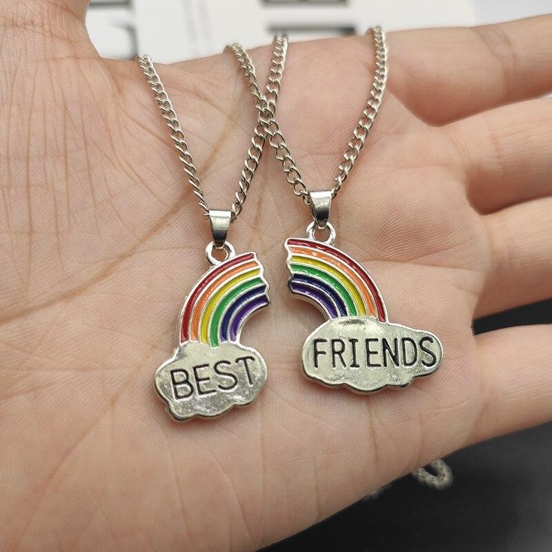 2 Pçs/set Colar Melhor Amigo Charme Lady Rainbow Heart Grava Melhor Amigo Para Sempre Colar Pingente Amizade BFF Presente Da Jóia|Colares c/ pingente|   -