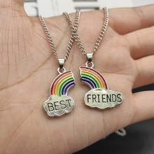 2 Pçs/set Colar Melhor Amigo Charme Lady Rainbow Heart Grava Melhor Amigo Para Sempre Colar Pingente Amizade BFF Presente Da Jóia