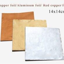 Hoja de papel de hoja de Oro de imitación hojas de papel dorado hoja de aluminio de cobre dorado para manualidades decoración del hogar Dorada 100 Uds 14x14cm