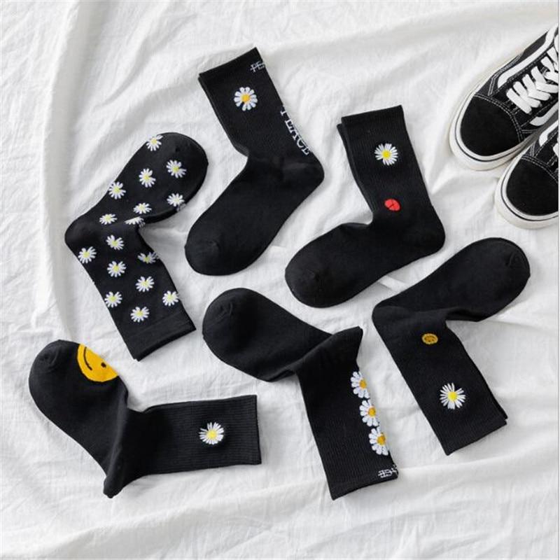 KPOP G-Dragon Embroidery Daisy Peaceminusone Cotton Socks Women Elastic Socks Unisex Winter Socks Skateboard Meias Streetwear