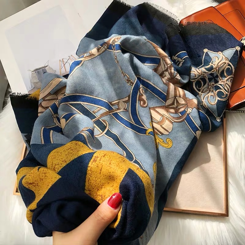 Luxury Brand Silk Scarves Cotton Linen Square Scarves Women Autumn Winter Versions Kinds Royal Chain Four Grid Splicing Shawls