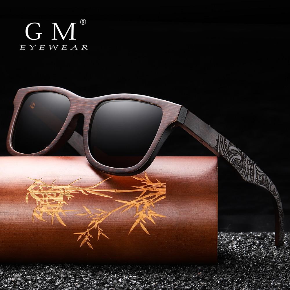 GM Handmade Natural Wooden Sunglasses Women Men Brand Design Vintage Fashion Glasses Gray Polarized Lens Accept OEM 1610BN