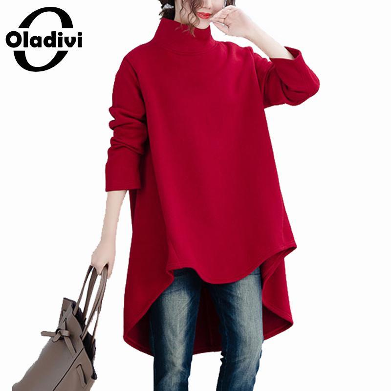 Oladivi Plus Size Women Velvet Fleece Hoodies & Sweatshirts Ladies Casual Loose Turtleneck Overcoat Top Female Outwear Coats 4XL