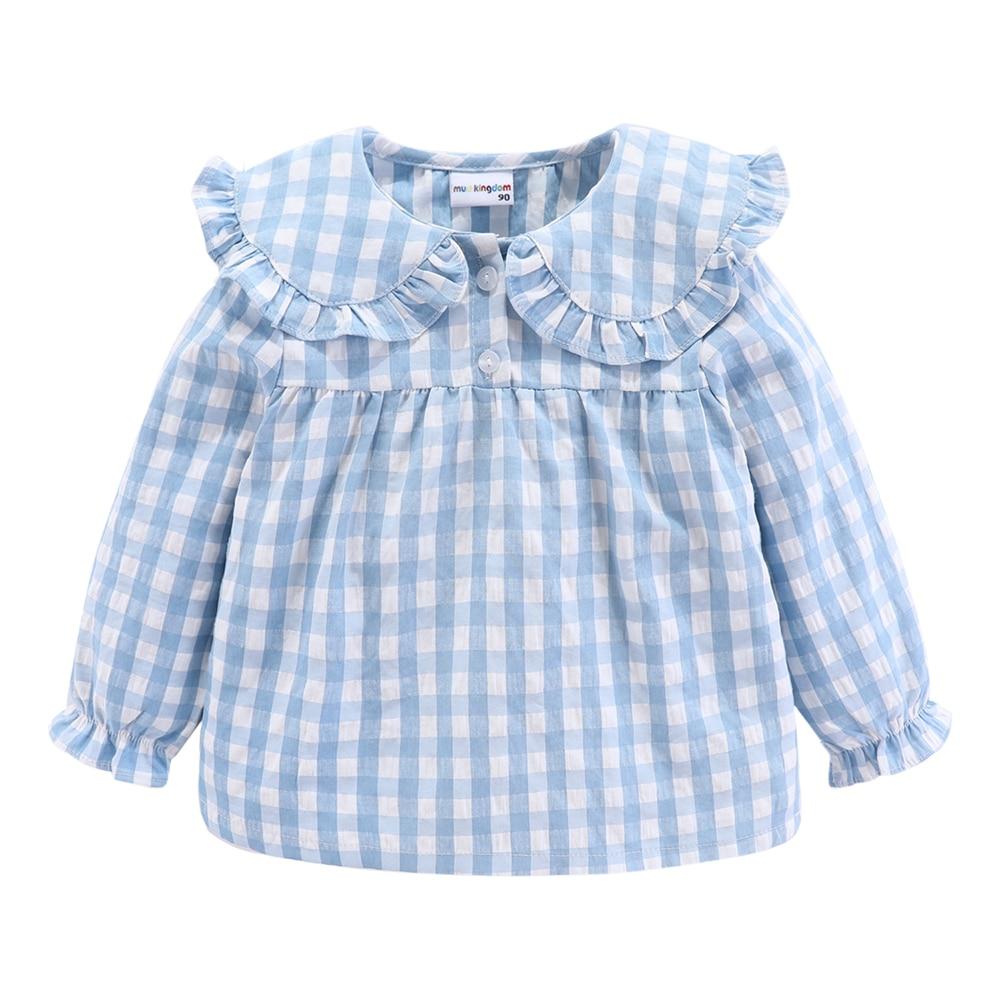 Mudkingdom Girls Pajama Set Peter Pan Collar Cute Plaid Kids Homewear Casual Toddler Pajamas Kids Sleepwear 6