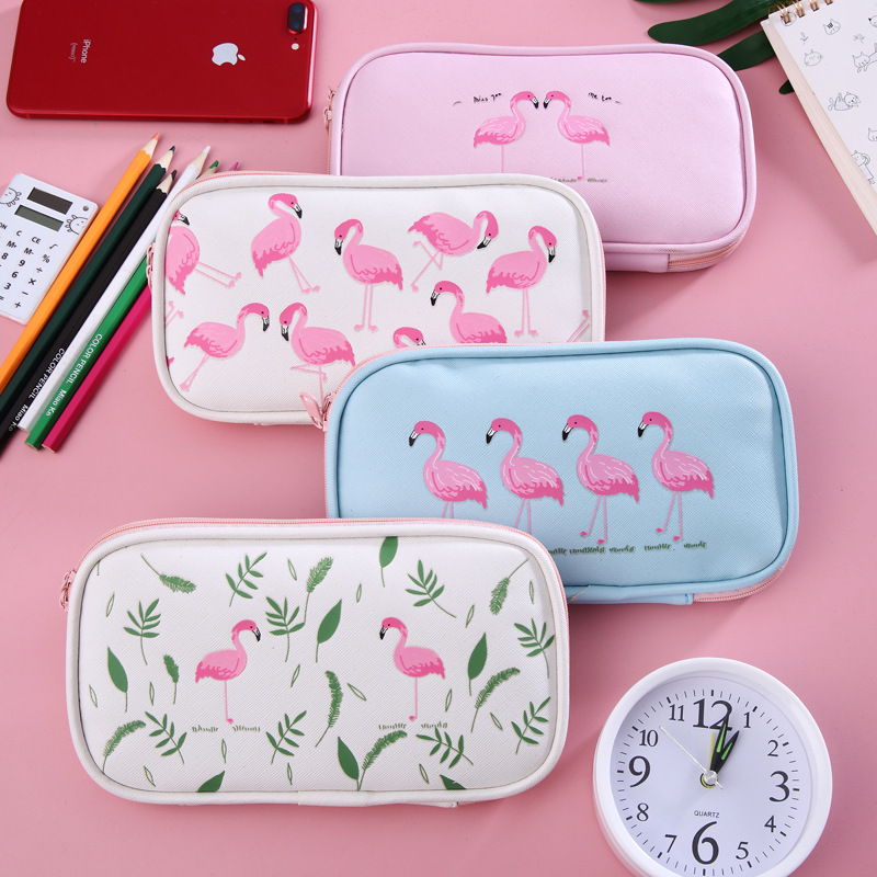Cute Flamingo Pencil Case Girls Pink Pencilcase Pen Bag Pu Multifunction Pencil Bag For Students Gift Stationery School Supplies