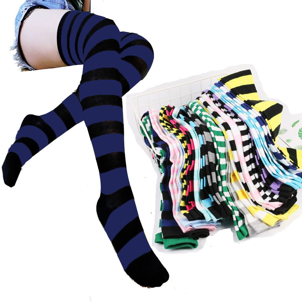 Meias femininas menina sexy magro listrado meias longas outono natal halloween festa de páscoa bola traje joelho meias altas # l5