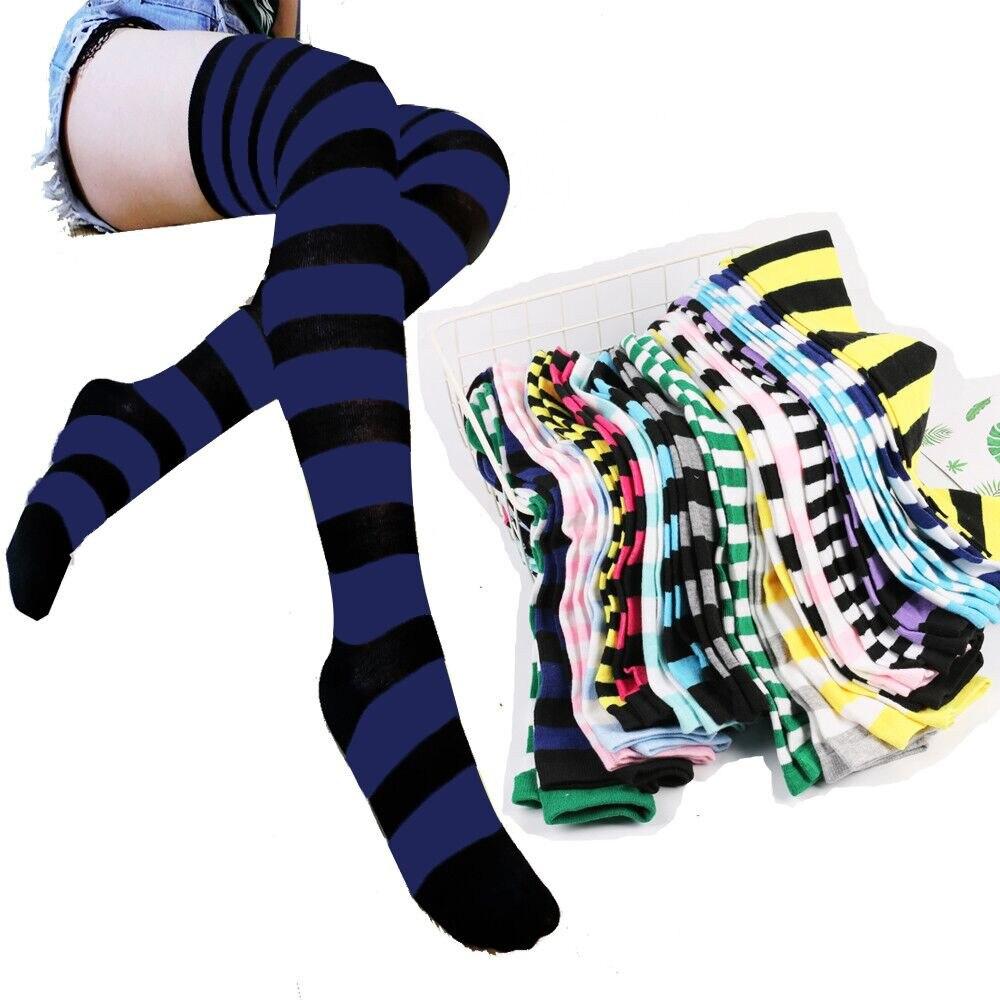 Женские чулки для девочек, женские пикантные тонкие полосатые длинные носки, осень, Рождество, Хэллоуин, Пасхальный бал, костюм для вечерние...