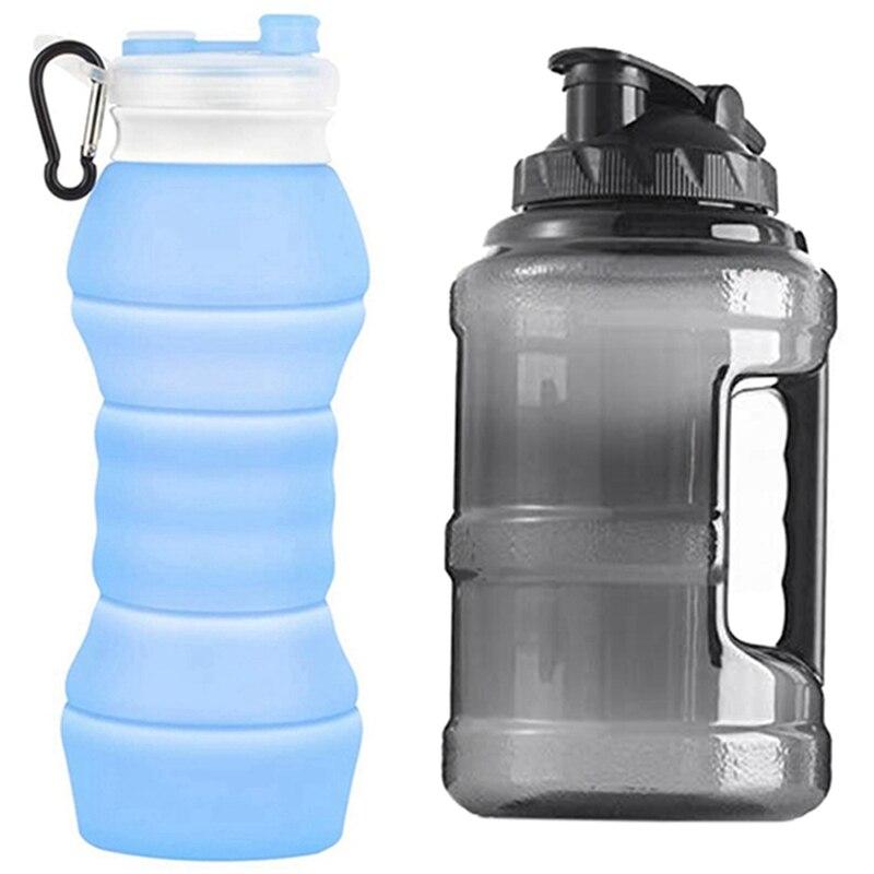 2 предмета Портативный многоразовая бутылка для воды для занятий в тренажерном зале, Пеший туризм, езда на велосипеде, альпинизма, путешеств...