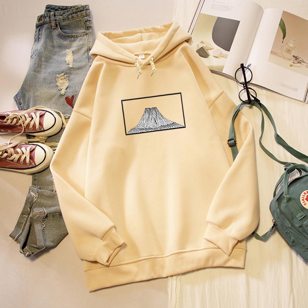 Mountain Graphics Printed Harajuku Sweatshirt Warm Streetwear Female Oversize Thick Loose Women Hoodies Punk Literary Art Japan