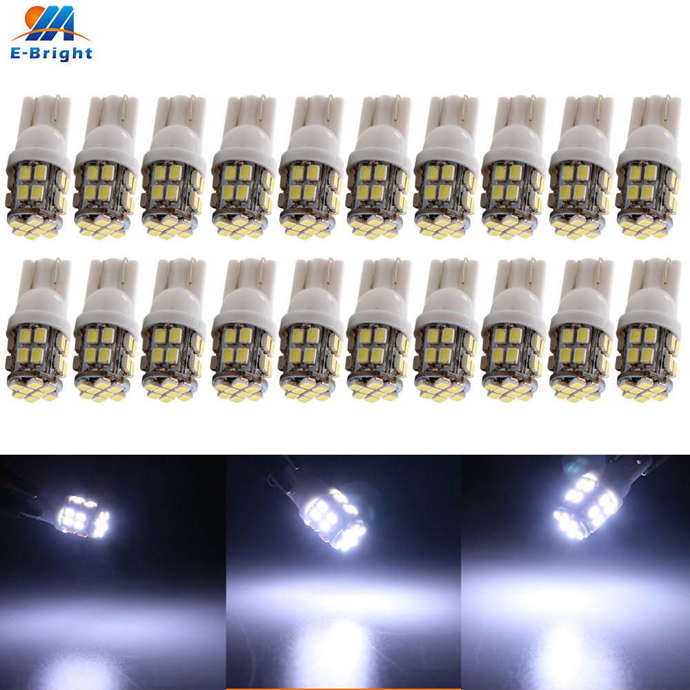 20X 50X 100X 12V <font><b>T10</b></font> 1206 <font><b>24</b></font> <font><b>SMD</b></font> 194 168 LED 200LM 8000K-10000K Bulbs W5W Auto Interior Reading Car Door Clearance Lights White image