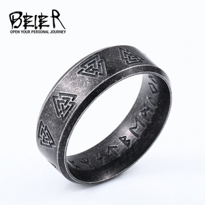 Beier 316L Stainless steel Fashion Valknut MEN and women fashion Odin Norse Viking Amulet Rune words RETRO Rings Jewelry LR-R145