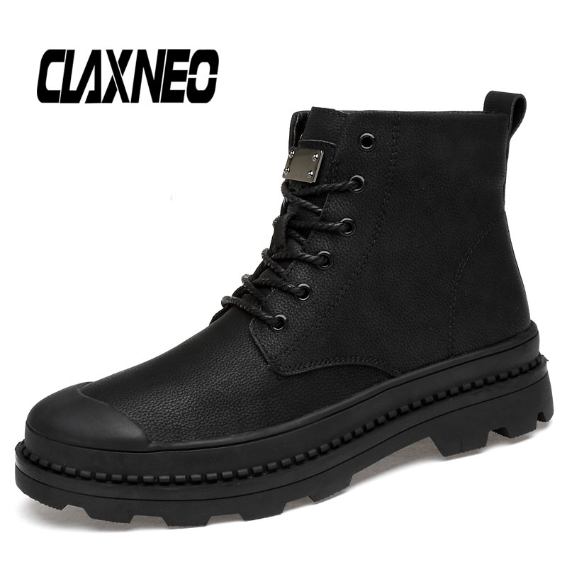 CLAXNEO Man Leather Boots Autumn Winter Men Boot Plush Fur Warm Male Shoe High Top Casual Walking Footwear Big Size