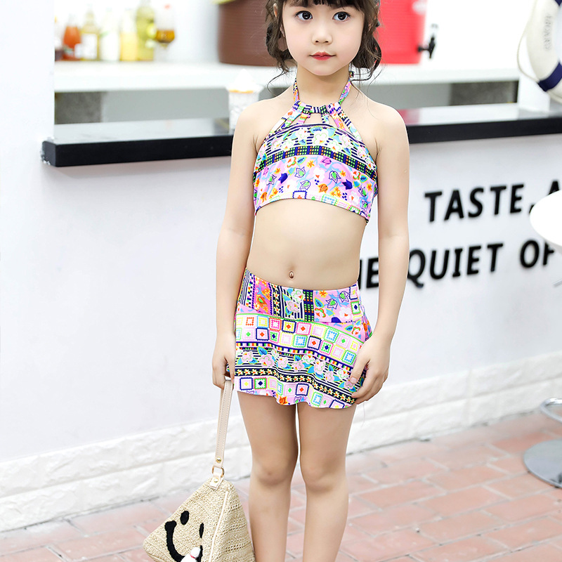 2018 Children Two-piece Swimsuits Cute Pattern Printed Off-Shoulder Girls Small Children Tour Bathing Suit Skirt Swimwear