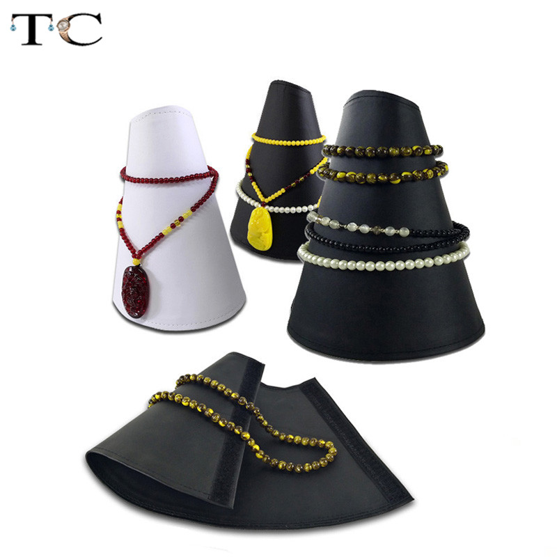 Fashion Foldable Jewelry Display Stand 3 Color Available PU Necklace Bead Chain Organizer Fan-shaped Jewelry Bracelet
