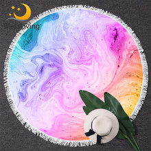 BlessLiving Colorful Marble Large Round Beach Towel for Adult Pastel Quicksand Bath Bright Girly Sunblock Blanket Cover