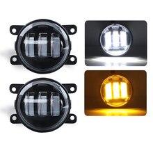 1pair 3.5 Inch  LED fog Light 30W 3000LM Amber White Fog lamp for Jeep Wrangler JK 2 Door 2007~2015 for Dodge Journey 2009~2013