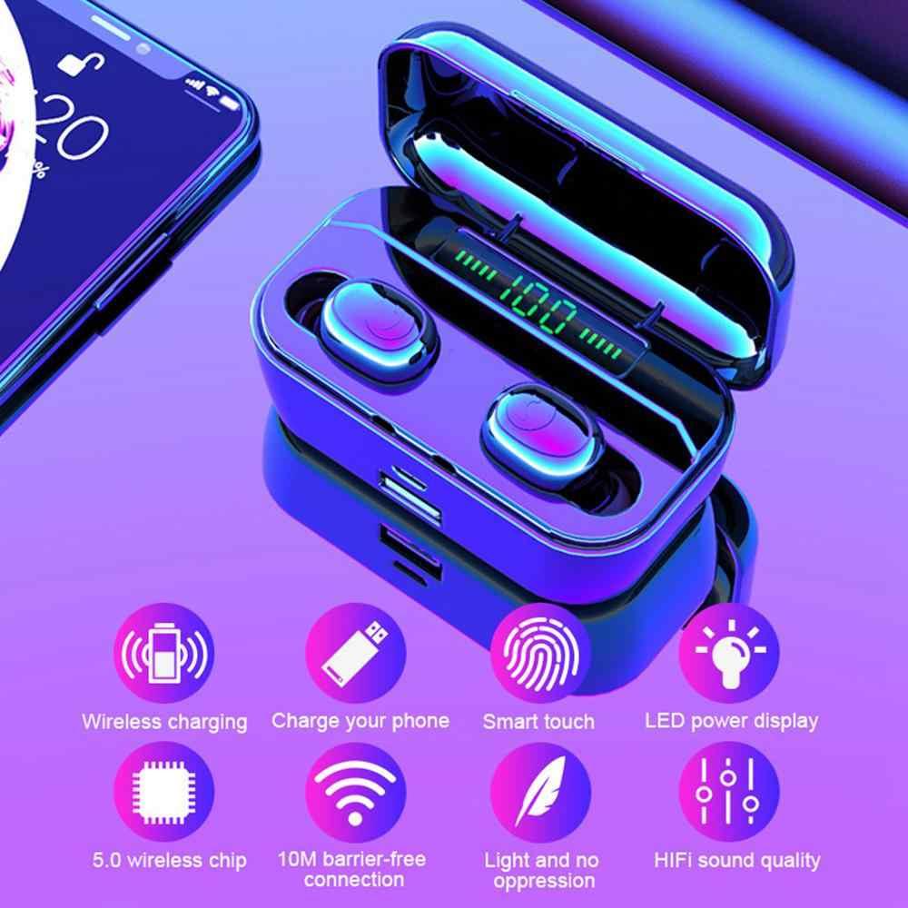 LED Display Asli Earphone Bluetooth 5.0 Nirkabel Bluetooth Stereo Earphone Earbud 3500 MAh Power Bank Earphone Tahan Air