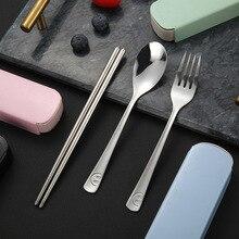 цена на smile Stainless Steel Dinnerware Set Travel Camping Cutlery Set Reusable Silverware With Spoon Fork Chopsticks Straw