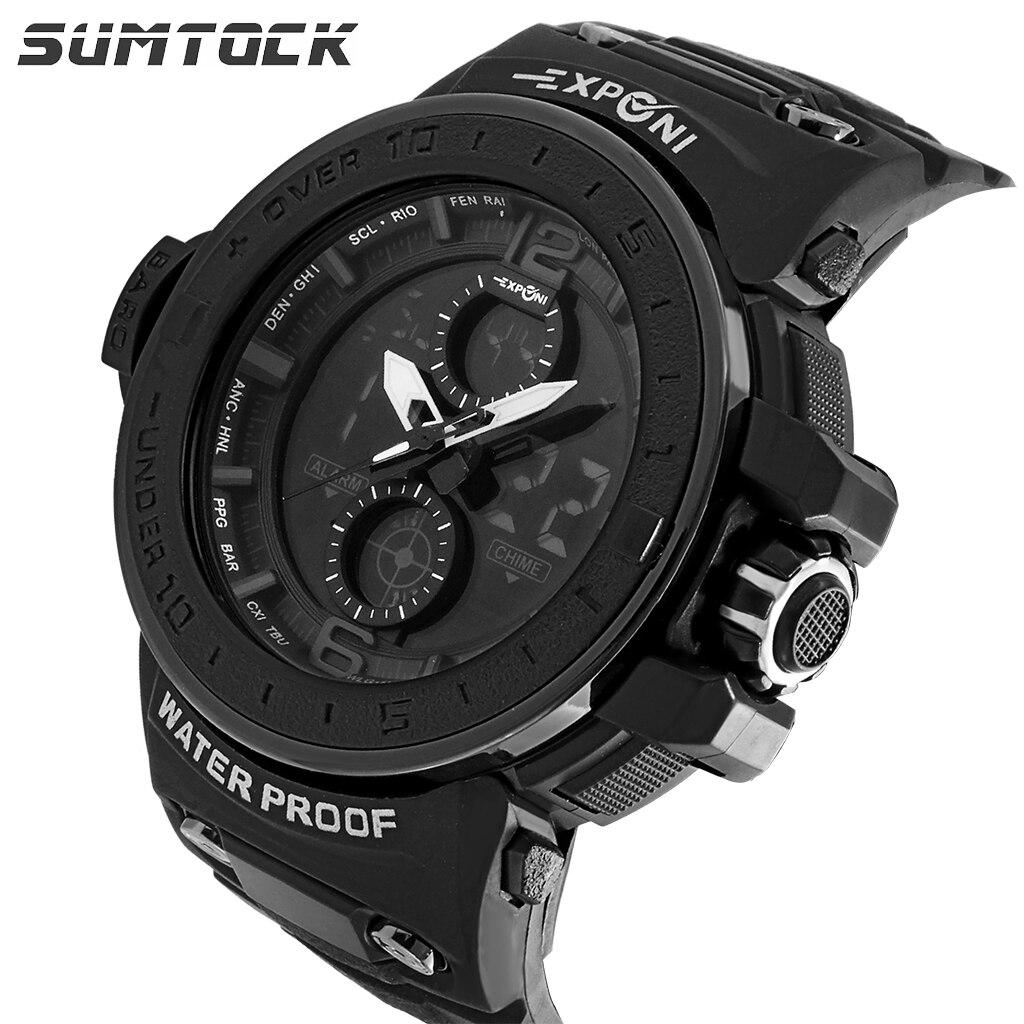 SUMTOCK Men's Digital Watches Fashion Sports Large Dial LED Waterproof Chronograph Double Movement Quartz Wrist Watch Students