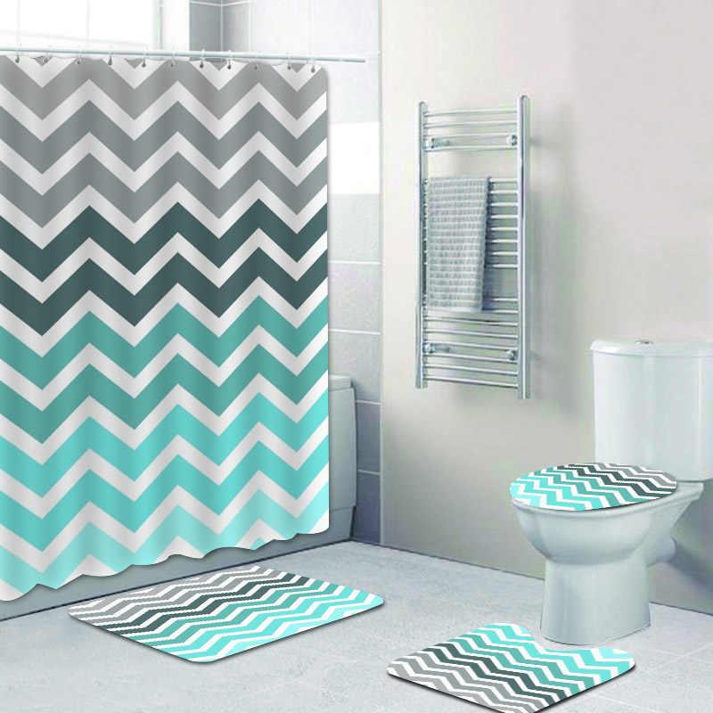 teal grey aqua blue chevron pattern shower curtain bathroom curtains set geometric bath mat rug carpet for toilet zigzag decor