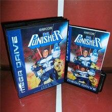 Punisher EU 커버 박스 및 설명서 Sega Megadrive Genesis 비디오 게임 콘솔 16 비트 MD 카드