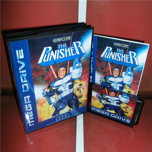 Punisher ab kapak ile kutu ve manuel Sega Megadrive Genesis Video oyunu konsolu 16 bit MD kart
