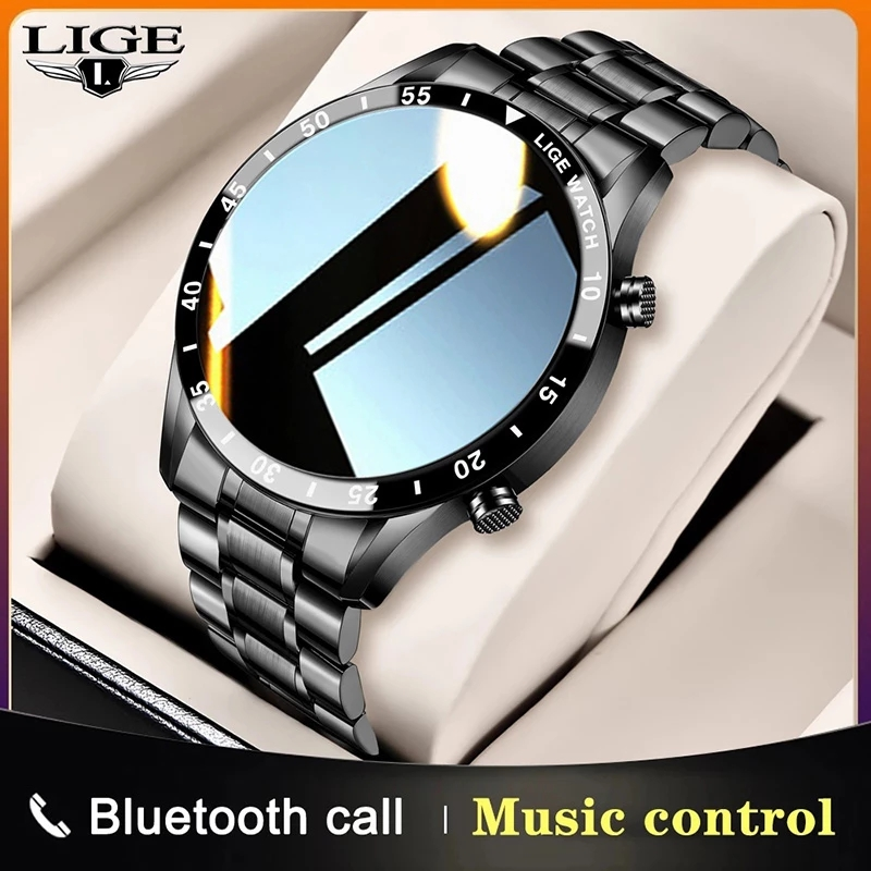 LIGE New stainless steel Digital Watch Men Sport Watches Electronic LED Male Wrist Watch For Men Clock Waterproof Bluetooth Hour