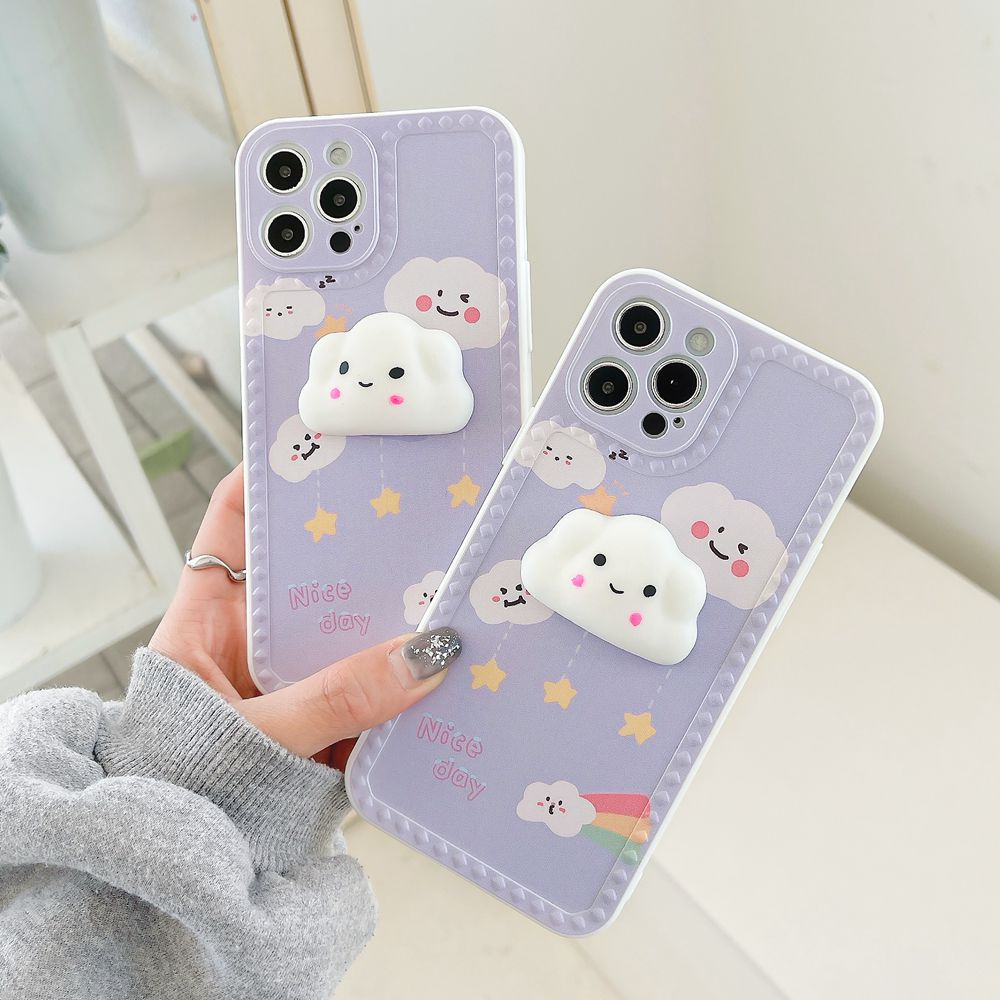 Cute 3D White Cloud Red Flower Phone Case For Iphone 11 12 Pro Max 12Mini XS X XR 7 8 Plus SE 2020 Cartoon Soft Silicone Cover