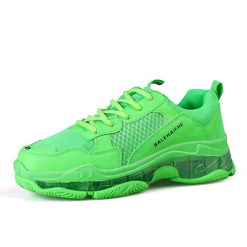 Men Dad Sneakers Casual Shoes Air Mesh Chunky Sneaker Outdoor Walking Shoes Tenis Basket Zapatillas Hombre Green Yellow Sneakers