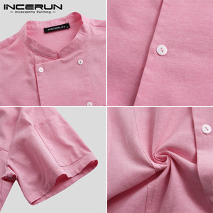 Image 5 - INCERUN Men Chef Uniform Short Sleeve Solid Color Stand Collar Double Breasted Kitchen Food Service Restaurant Tops Chef Jackets