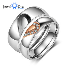 Personalized Heart Matching Couple Rings for Lovers Custom Name Wedding Band Engagement Ring Women Men Valentine Gift Jewelry