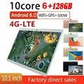 2020 android 8.0 os 10 polegadas tablet dez núcleo 4g chamada telefone tablet 6 gb ram 128 gb rom 1280x800 wifi bluetooth tablet para presentes