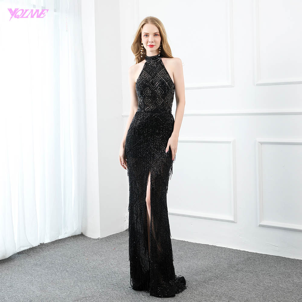 YQLNNE Couture Black Crystal Beading Evening Dress Long Halter Sleeveless Formal Evening Gowns Split