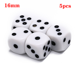 Dado para juegos de beber acrílico blanco esquina redonda dado hexaedro fiesta juegos de mesa juego de dados de juego de rol Yernea 10mm/ 16mm