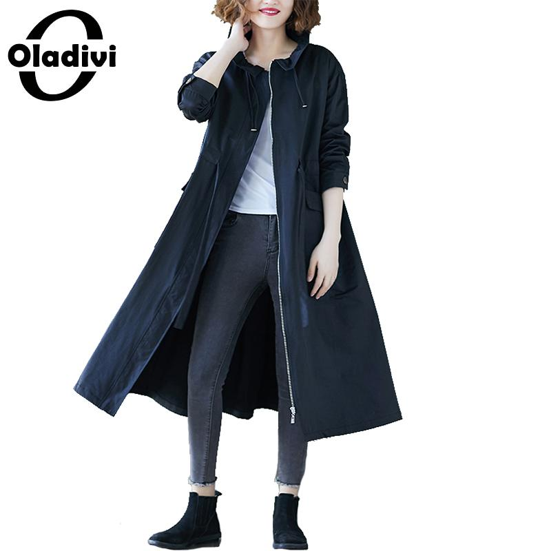 Oladivi Plus Size Women   Trench   Coat Fashion Ladies Casual Loose Overcoats 2019 Autumn New Outerwear Female Top Cardigan 3 Colors